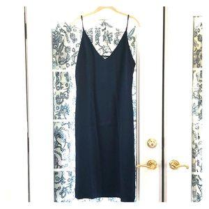 Midnight blue 100% silk slip dress